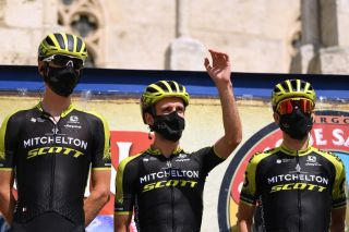 BURGOS SPAIN JULY 28 Start Jack Haig of Australia and Team MitcheltonScott Simon Yates of The United Kingdom and Team MitcheltonScott Esteban Chaves of Colombia and Team MitcheltonScott during the 42nd Vuelta a Burgos 2020 Stage 1 a 157km stage from Burgos to Burgos Alto del Castillo 976m Burgos Cathedral VueltaBurgos on July 28 2020 in Burgos Spain Photo by David RamosGetty Images
