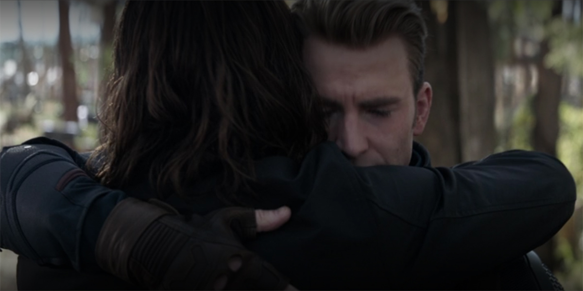 Bucky and Captain AMerica hug at the end of Avengers Endgame