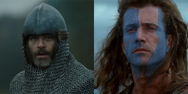 Chris Pine in Outlaw King and Mel Gibson in Braveheart