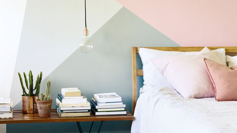 Geometric Colour Blocking Paint Design In A Bedroom By Farrow And Ball