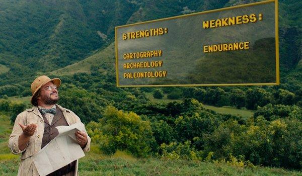 "Jack Black as Professor Sheldon ""Shelly"" Oberon in Jumanji: Welcome to the Jungle"