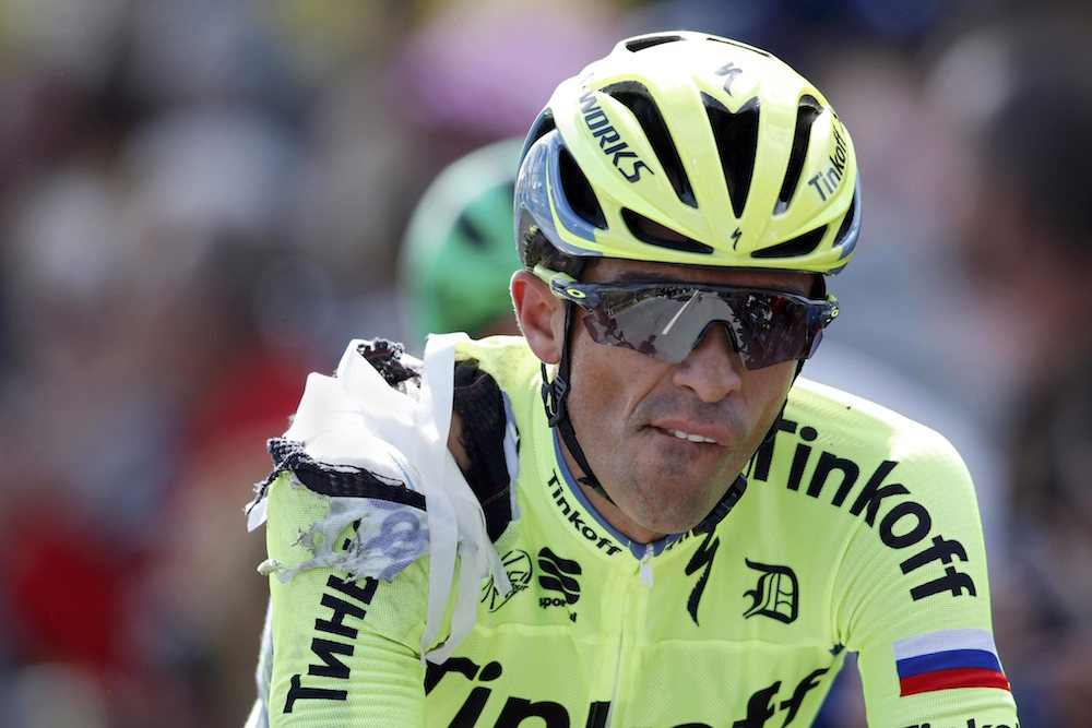 Thumbnail Credit (cyclingweekly.co.uk): Alberto Contador suffered a high speed crash during stage one of the 2016 Tour de France. Photo: Graham Watson