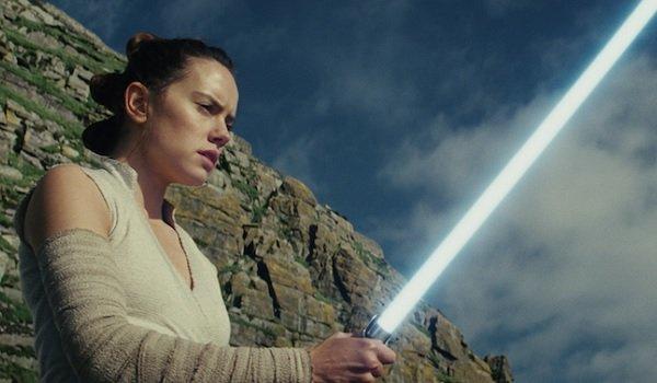 Star Wars: The Last Jedi Rey admiring her lightsaber