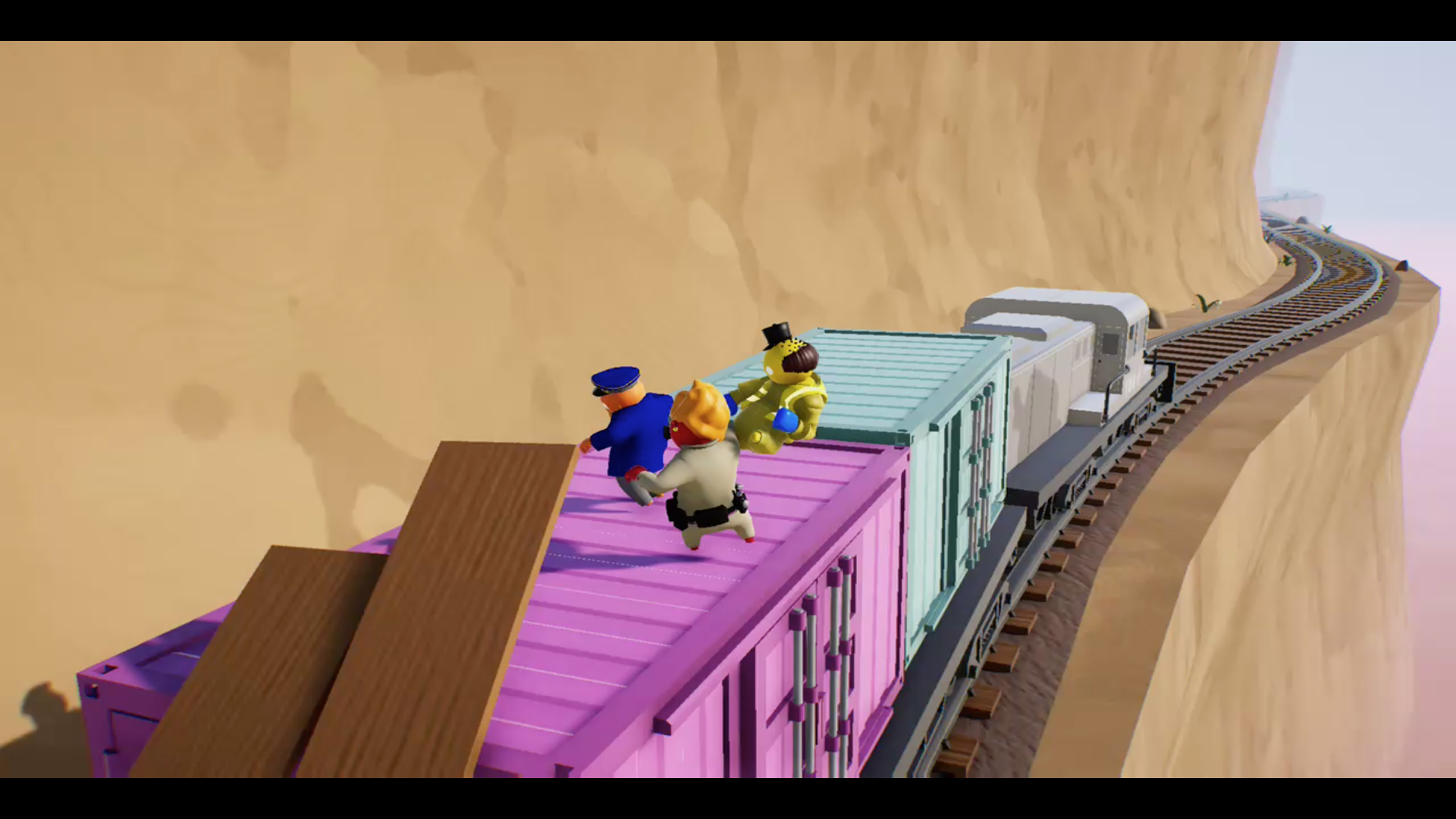 The precarious train level in Gang Beasts
