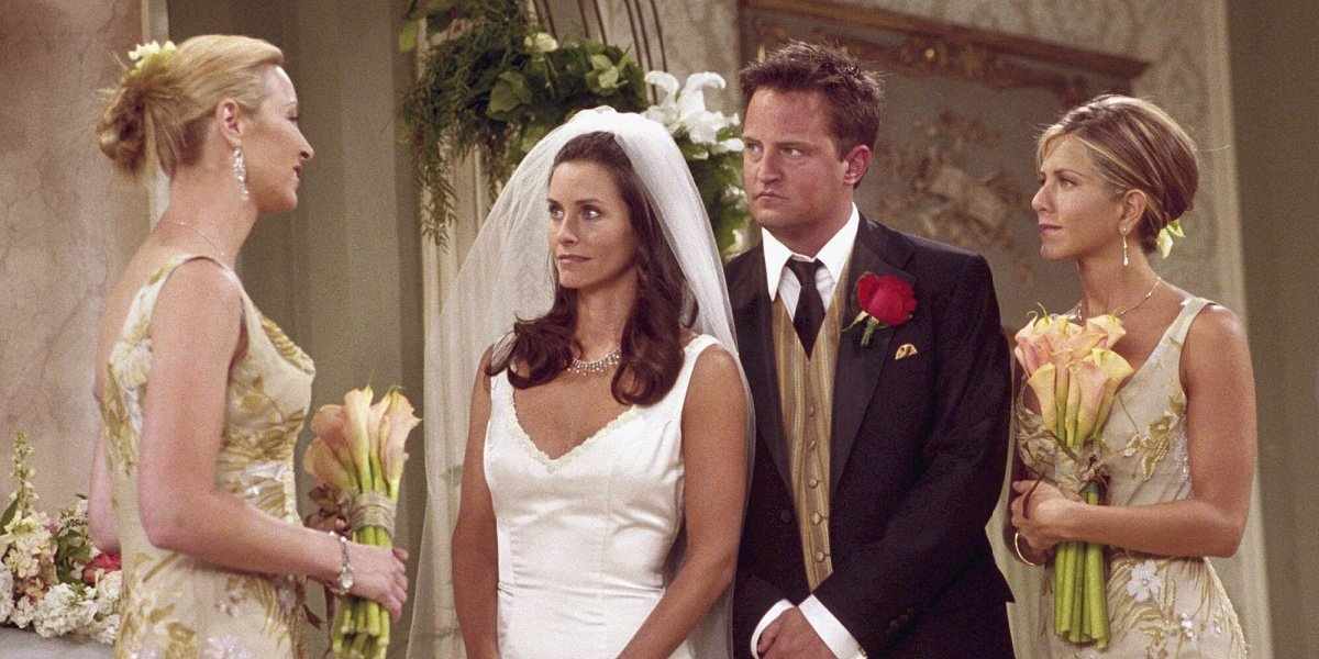 Chandler and Monica at their wedding in Friends.