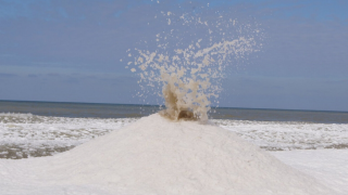 A so-called ice volcano erupting on Oval Beach in Michigan