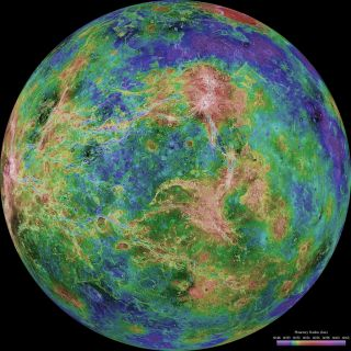 Elevation map of the planet Venus.
