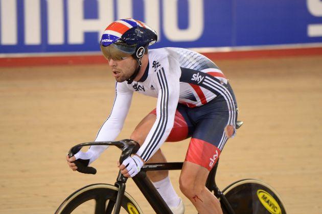 Mark Cavendish after crashing in the Madison, Track World Championships 2016