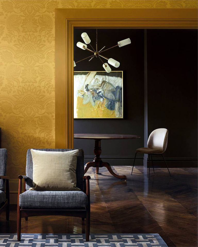 Deep yellow in a living room and diner - one of the Color Trends 2021