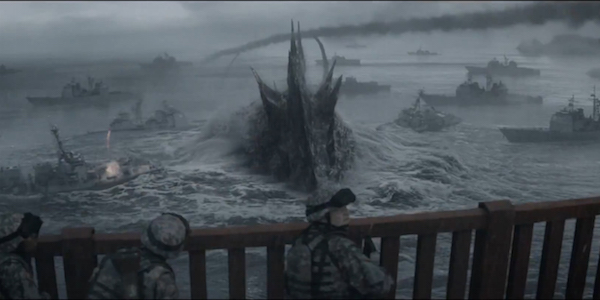 Godzilla swims with battleships