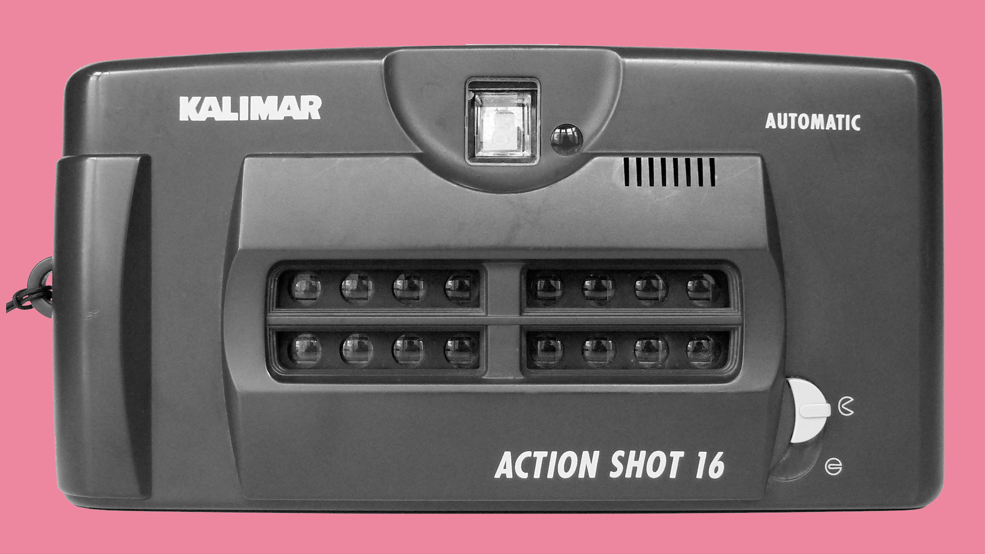 The front of the Kalimar Actionshot camera on a pink background