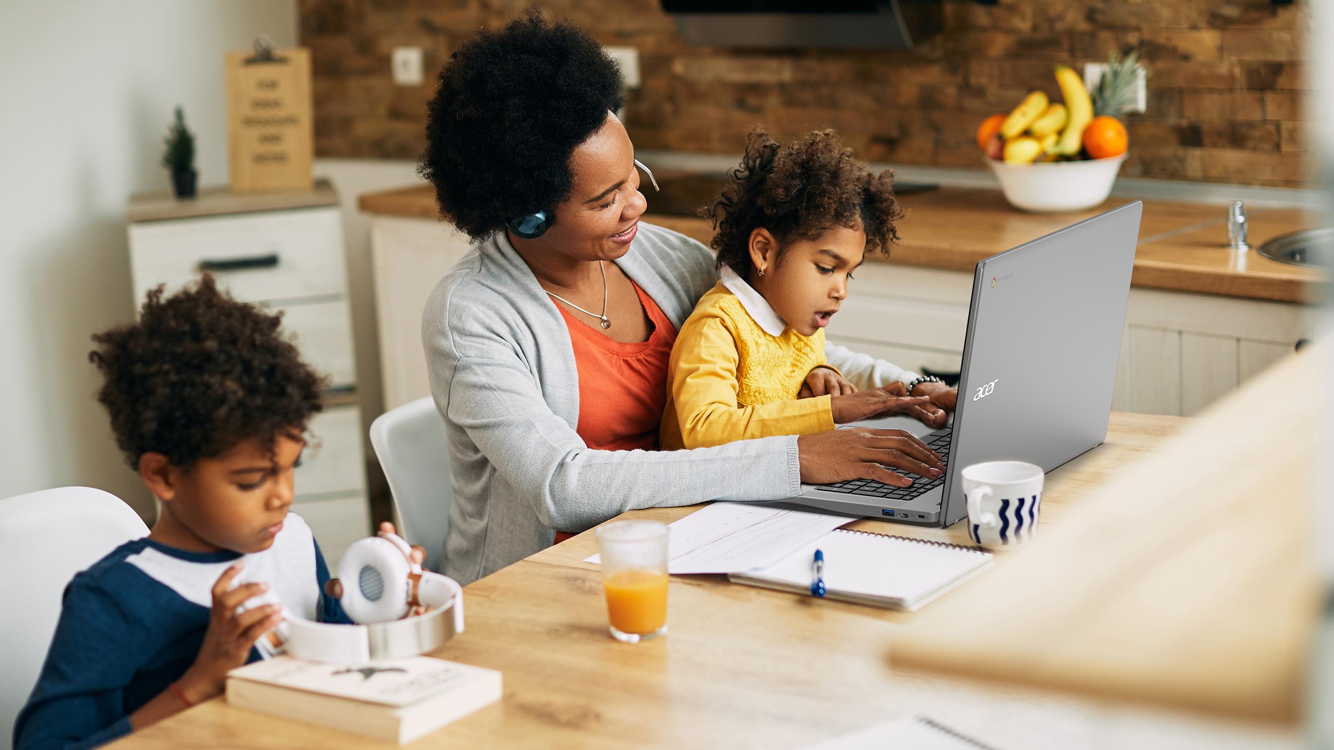 Family using Acer Chromebook