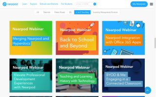 Nearpod screenshot: Webinars