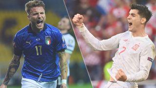 Italy vs Spain live stream at Euro 2020 – Ciro Immobile of Italy and Alvaro Morata of Spain