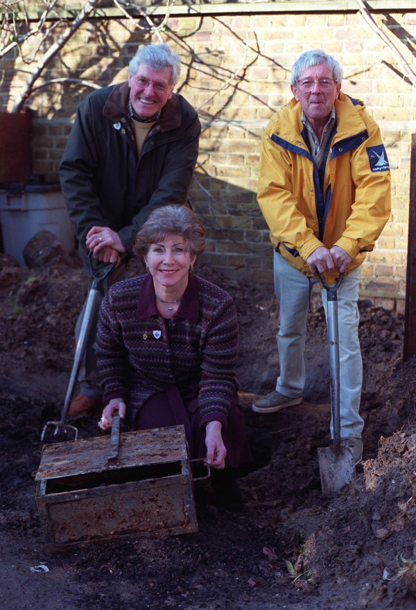 John Noakes, right, with former Blue Peter presenters Peter Purves and Val Singleton, dig up the Time Capsule in 2000