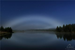 Lunar Fog Bow Over Lake in Finland