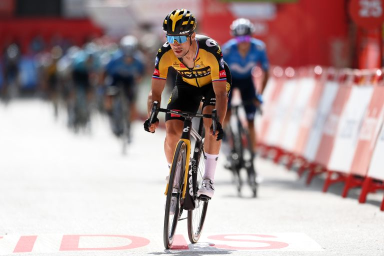 Primož Roglič winning stage 11 of the Vuelta a España 2021