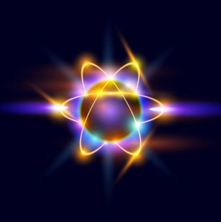 An atom consists of a nucleus of protons and neutrons, with electrons orbiting around.