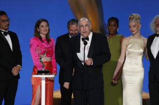 The producers and cast for 'The Queen's Gambit' accepting the award for outstanding limited or anthology series or movie.