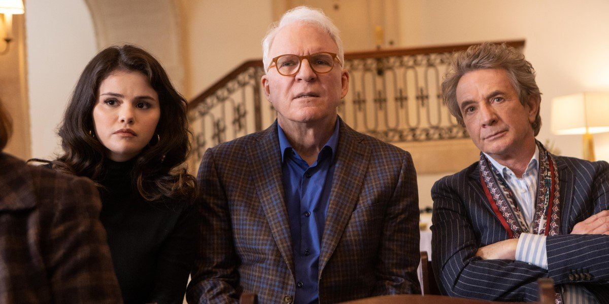 martin short, steve martin and selena gomez at memorial on only murders in the building