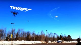 Michigan Tech's anti-drone can shoot a web to safely dispatch other drones.