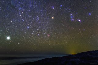 Jupiter and Orion Over Canary Islands
