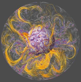 This visualization of Earth's core shows how turbulent waves (shown in red and blue) twist up the planet's magnetic field lines (orange) into pockets of intense activity. This mysterious phenomenon is called a geomagnetic jerk.
