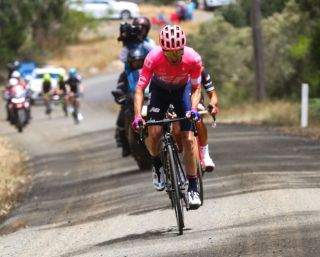 EF Education First's Michael Woods on the attack on the gravel section on stage 2 of the 2019 Herald Sun Tour