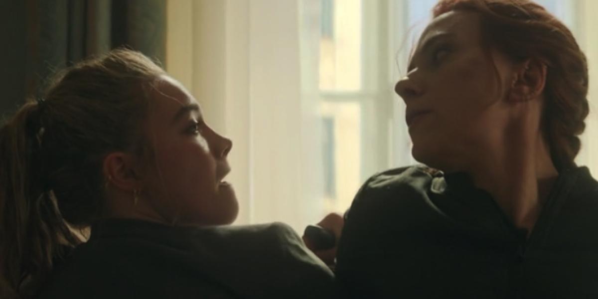Florence Pugh and Scarlett Johansson in Black Widow fight scene
