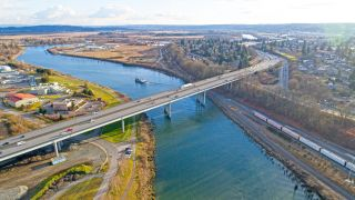 Bridge over Snohomish river in Everett, Washington.