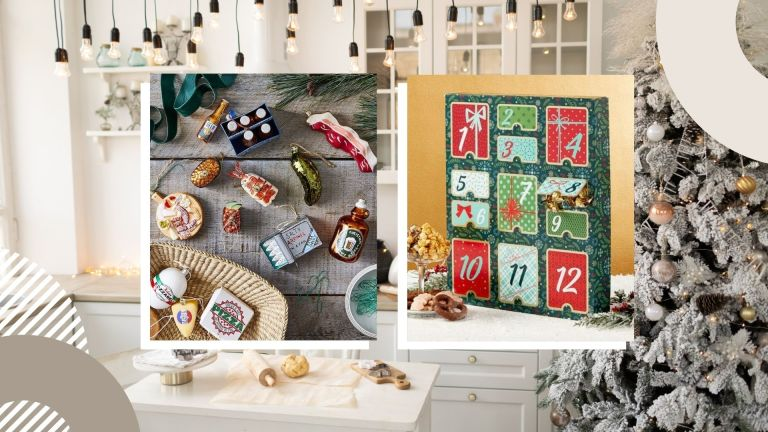 best Christmas food gifts: side-by-side image of Christmas countdown and ornaments from 1800 Flowers and Food52 respectively