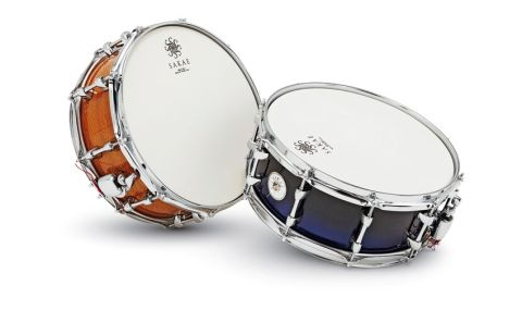 There's a choice of 27 finishes for Sakae's beech snare. Here we have black-to-blue acrylic and silky oak veneer