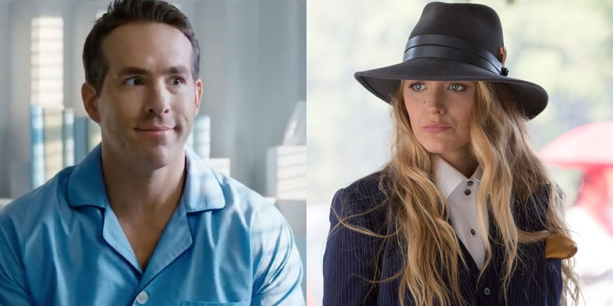 Ryan Reynolds in Free Guy and Blake Lively in A Simple Favor pictured side by side.