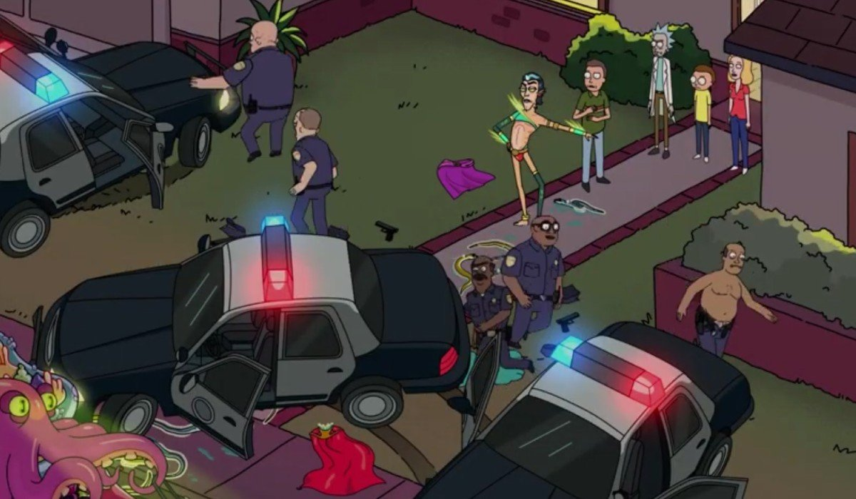 Mr. Nimbus instructing the police to leave Rick and morty