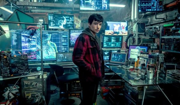 Justice League Barry Allen standing in the middle of his lab