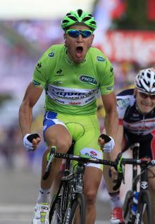 Peter Sagan transformed into the Incredible Hulk after winning in Metz
