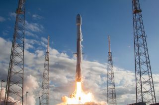 SpaceX has delayed the planned Feb. 25, 2018 launch of the Spanish communications satellite Hispasat 30W-6 from Space Launch Complex 40 at the Cape Canaveral Air Force Station in Florida. Here, a SpaceX Falcon 9 launches the GovSat-1 satellite from the sa