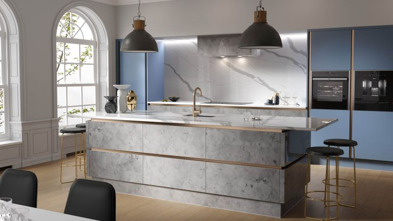 Milano kitchen in blue and silver, Wren Kitchens