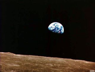 """Earthrise"" seen by the Apollo 8 astronauts in December 1968."