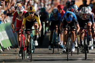 Stage winner Team Jumbo rider Belgiums Wout van Aert 2ndL sprints to crosses the finish line at the end of the 7th stage of the 107th edition of the Tour de France cycling race 168 km between Millau and Lavaur on September 4 2020 Photo by BENOIT TESSIER POOL AFP Photo by BENOIT TESSIERPOOLAFP via Getty Images