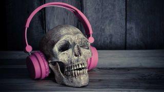 A skull wearing headphones