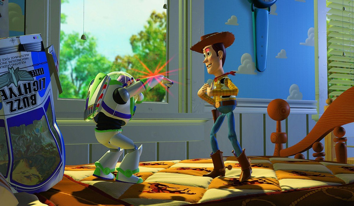 Toy Story Buzz aims his laser at Woody