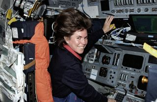 Astronaut Janice Voss, who died Feb. 6, 2012, at age 55, is pictured on the flight deck of the space shuttle Endeavour during the STS-99 mission in 2000.