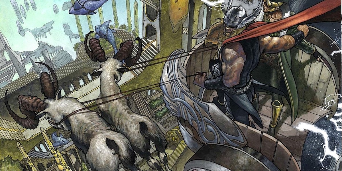 Thor with his goats in Marvel Comics