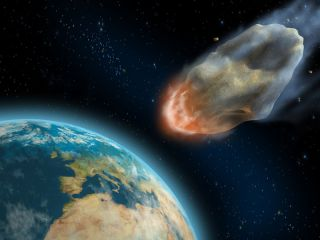 illustration shows an asteroid about to hit earth
