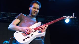 Paul Gilbert performs on stage during his World Tour 2016 on November 12, 2016 at Volta Club in Moscow, Russia