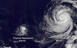 Hurricane Marie and storm Karina