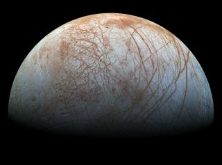 Jupiter's ocean-harboring moon Europa, as imaged by NASA's Galileo spacecraft.