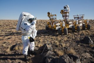 A would-be Mars astronaut takes part in an analog mission held in 2008 at Black Point Lava Flow in Arizona.