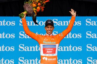 Richie Porte (Trek-Segafredo) in the ochre jersey as new leader of the 2020 Tour Down Under after stage 3 to Paracombe
